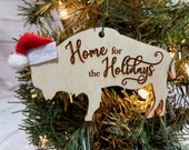 Home for the Holidays Buffalo Bison Wooden Engraved Ornament