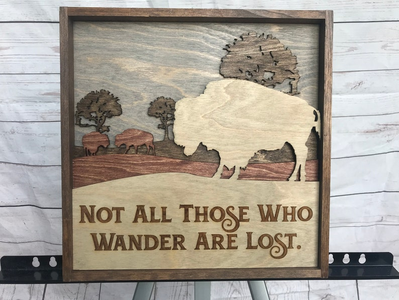 Buffalo Rustic Decor Not All Those Who Wander are image 0