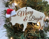 Merry & Bright Buffalo Bison Wooden Engraved Ornament