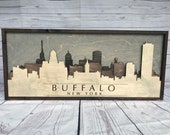 Rustic Buffalo, New York 3d Skyline (Wood)