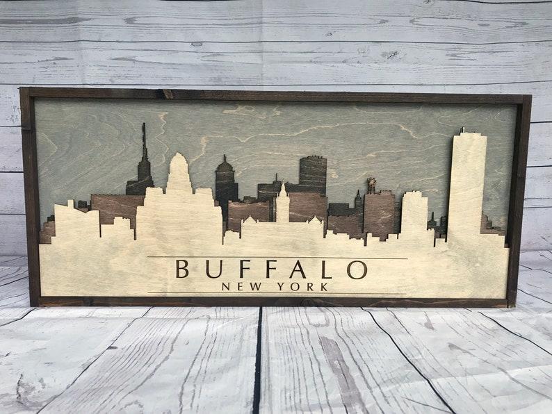 Rustic Buffalo New York 3d Skyline Wood image 0