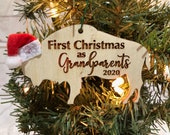 First Christmas as Grandparents Buffalo Bison Wooden Engraved Ornament