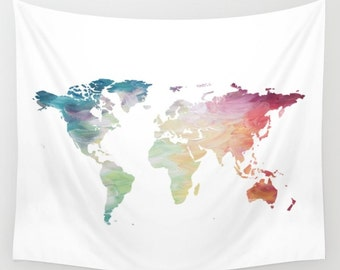 Map Tapestry, Rainbow Tapestry, World Map Wall Hanging, Globe Tapestry, World Map Decor Painted Map, Color Map Wall Hanging, Travel Tapestry