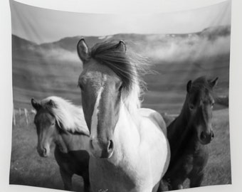 Horse Tapestry, Black & White Wall Hanging, Animal Tapestry, Photography Tapestry, Horse Decor, Horses Tapestry Western Wall Art, Cowboy Art
