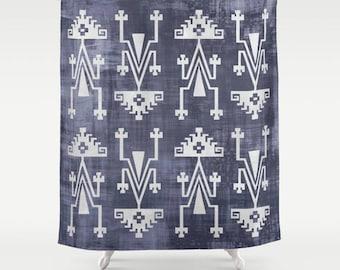 Boho Shower Curtain Tribal Print Pattern Bohemian Bath Decor Gypsy Vibe Blue White Distressed Primitive