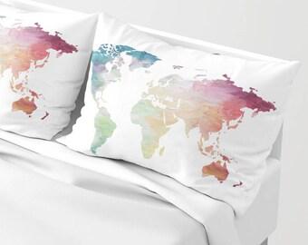 Map sham pillow etsy world map sham set globe bed sham rainbow painted map travel lover wanderlust standard sham king sham map pillow case adventure bedding gumiabroncs Choice Image