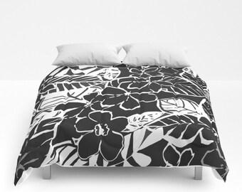 Black white bedding etsy floral duvet cover full queen king duvet flower pattern floral bedding abstract floral comforter black white gray bedroom tropical bed mightylinksfo