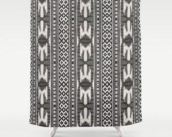 Boho Shower Curtain Tribal Print Aztec Pattern Bohemian Bath Decor Bathroom Accessories Gypsy Vibe Black White Design