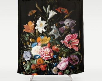 Flower Shower Curtain Moody Floral Dark Bathroom Romantic Decor Classical Art Oil Painting Rose Tulip Poppy Lily Iris