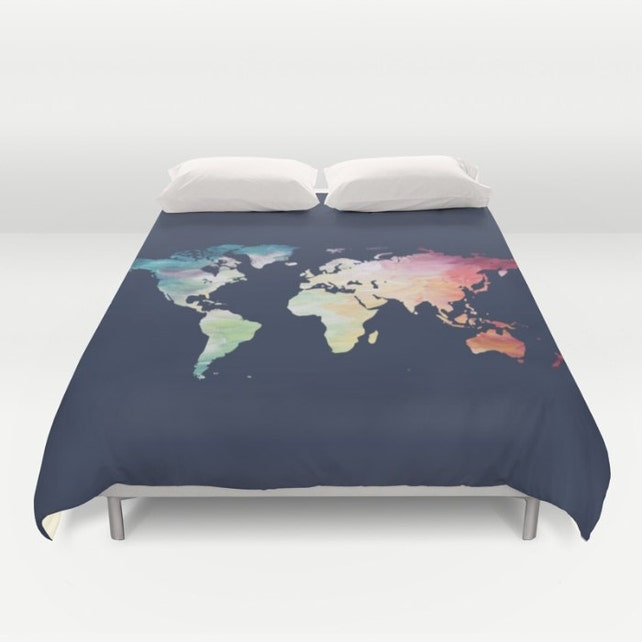 World map duvet cover navy comforter full queen king etsy image 0 gumiabroncs Images