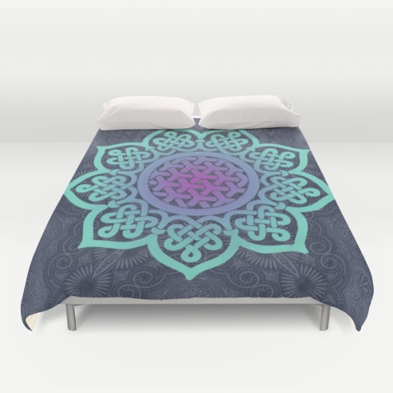 802af170d676a Blue Duvet Cover Full Queen King Mandala Duvet Teal Bed | Etsy