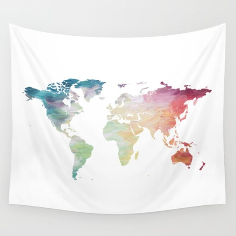Map Tapestry, Rainbow Tapestry, World Map Wall Hanging, Globe Tapestry, on