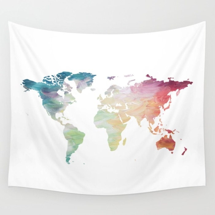 Map Tapestry Rainbow Tapestry World Map Wall Hanging Globe Etsy