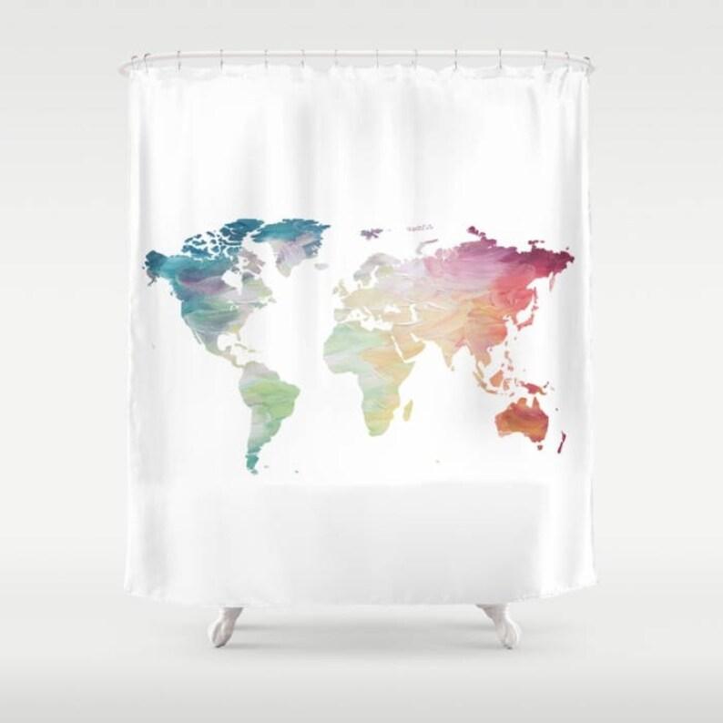 World Map Shower Curtain Rainbow Globe Bath