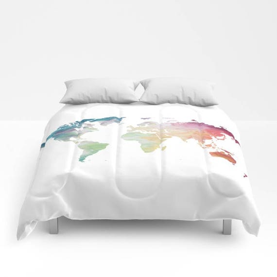 World Map Duvet Cover, Full Queen King Duvet, Painted Map Travel Lover  Comforter, Globe Bed Cover, Rainbow Duvet Cover, Wanderlust Bedding