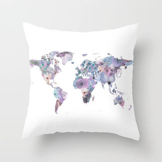 World map pillow watercolor floral cushion purple flower map etsy image 0 gumiabroncs Choice Image