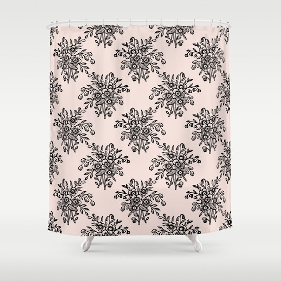 Pink Shower Curtain Floral Print Soft Bath Decor