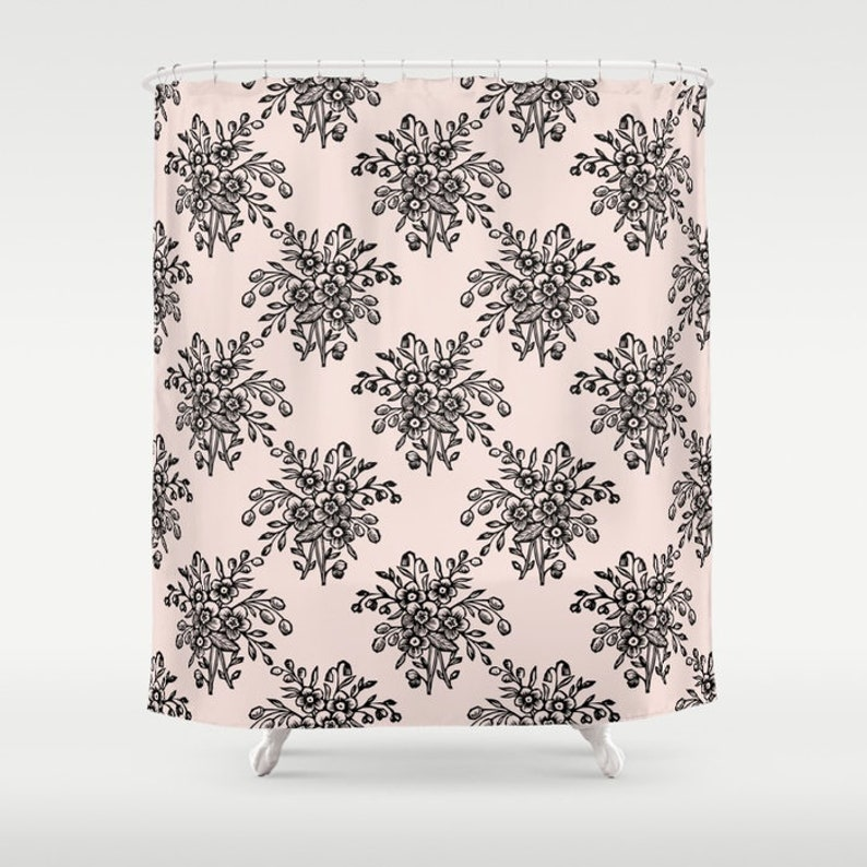 Pink Shower Curtain Floral Print Soft Bath Decor