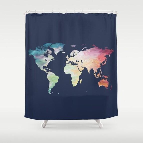 World Map Shower Curtain Navy Bath Decor