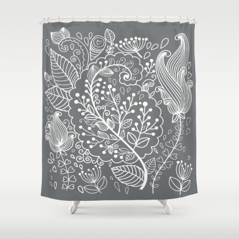 Floral Shower Curtain Gray White Flower Bath