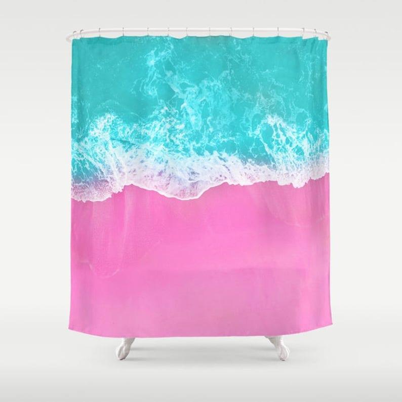 Pink Shower Curtain Beach Decor Sand Blue Water Surf