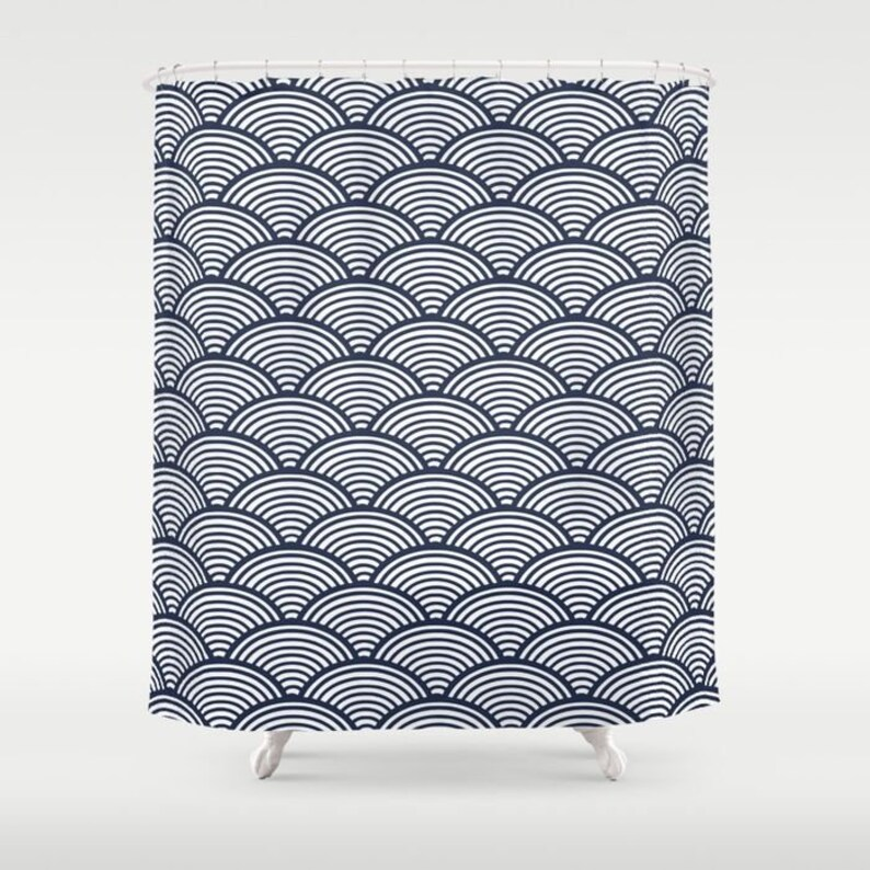 Navy Shower Curtain Classic Bath Decor Japanese Waves