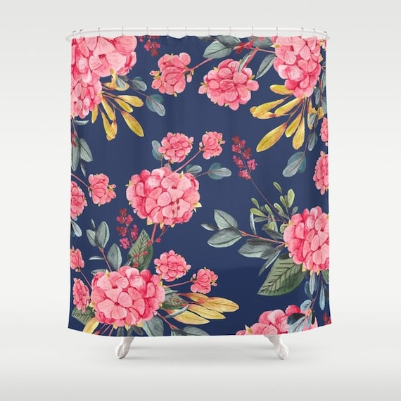 Floral Shower Curtain Navy Bathroom Watercolor Flowers