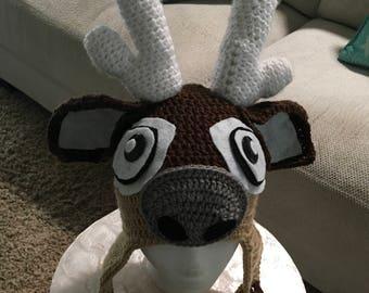 Crochet reindeer hat, character hat