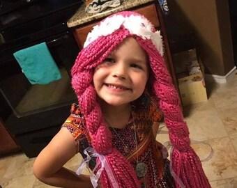 Crochet Chemo  princess, pink hair yarn wig, hat