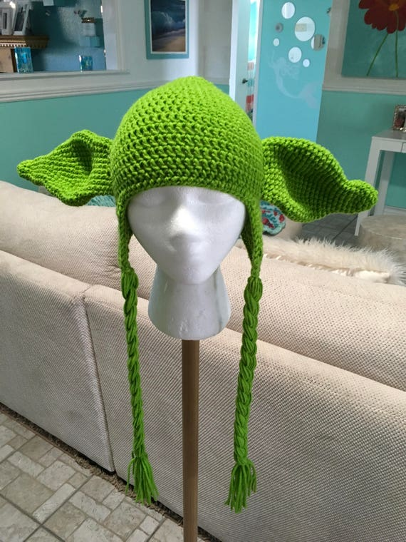 Crochet Yoda Star Wars Inspired Hat With Big Ears Character Etsy