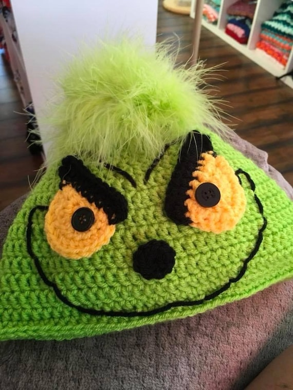 67af3a7b089 Crochet Grinch hat Dr Seuss inspired character hat