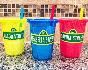 Sesame Street Birthday Party Favors Personalized Cups - Set of 3