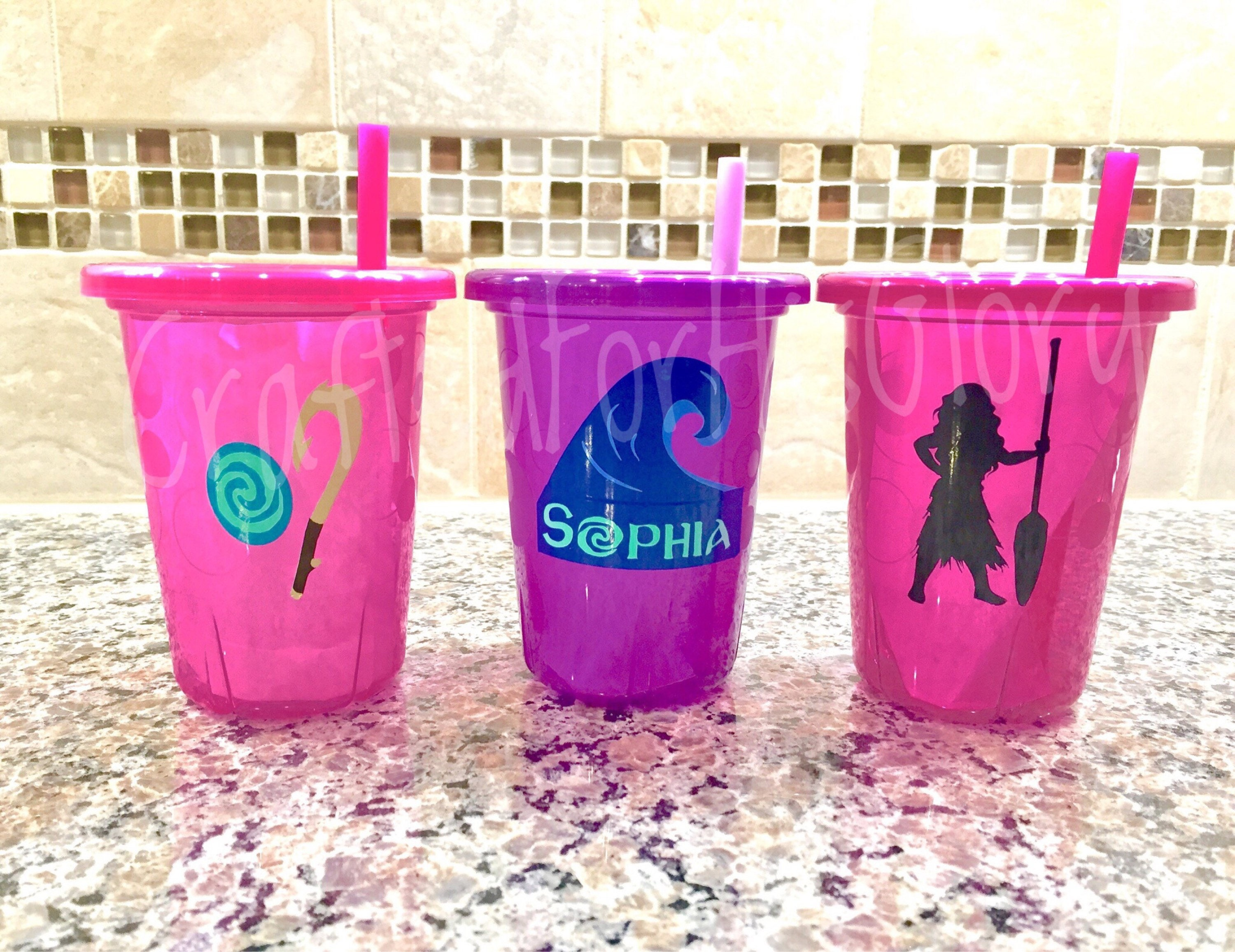 Moana Party Favors Personalized Cups Set of 3 | Etsy