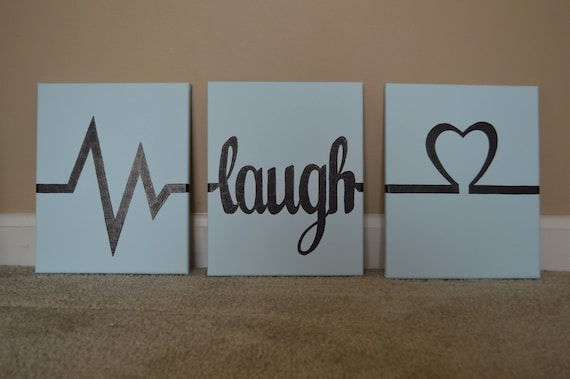 Live Laugh Love Home Decor Wall Hanging Canvas Painting Etsy
