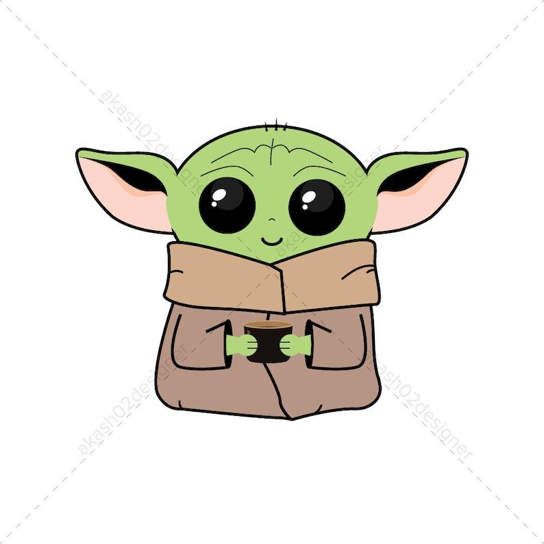 2 Super cute Baby Yoda color svg png jpeg AI EPS editable image 0