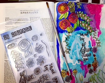 Beautiful Bible Journaling Polymer Stamp Set Grace