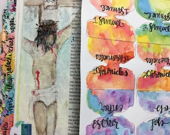 Water Color Laminated Bible Tabs All 66 Books Included