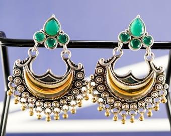 Silver Earrings with gemstones