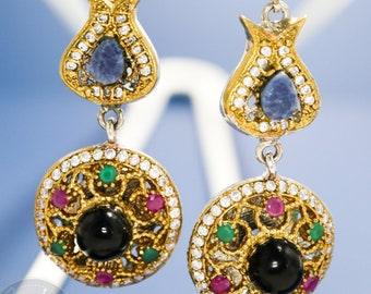 Multicolored Silver Earrings with gemstones