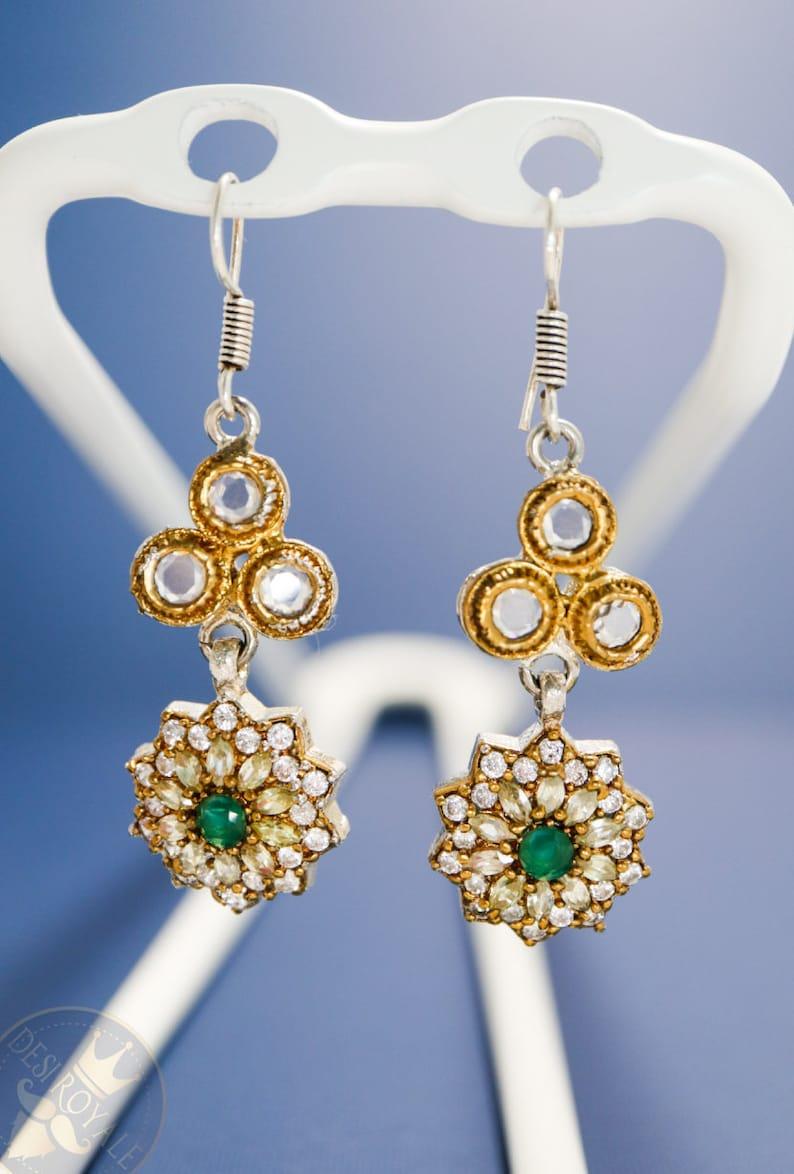 4d6bb2c9c6178 Emerald Flower Silver Earrings