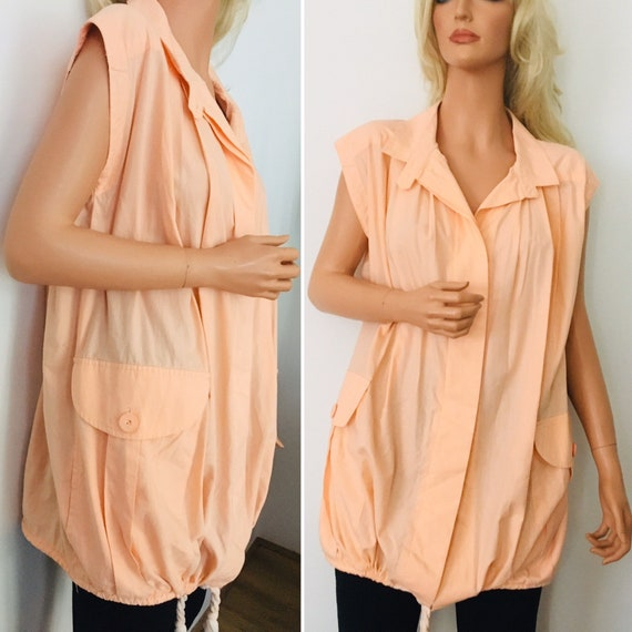 VINTAGE 1980s Betty Jackson For Quorum Peach Tunic