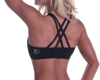Showstopper Double Cross Sports Bra - Bikini Competitor Training Apparel