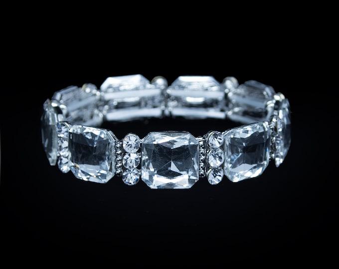 Kimber Clear Crystal Stretch NPC Bikini Fitness Competition Bracelet
