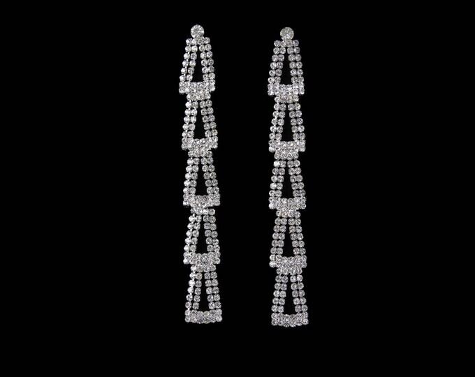 Clearance Sale! Clara Long Clear Crystal NPC Bikini Fitness Competition Earrings