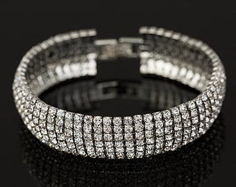 Kristin Clear Crystal Competition Bracelet for IFBB, NPC, and NANBF Bikini Fitness Bodybuilding Contests