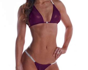 Wine Mystic Competition Bikini  NPC, IFBB, WBFF Bodybuilding Posing Suit