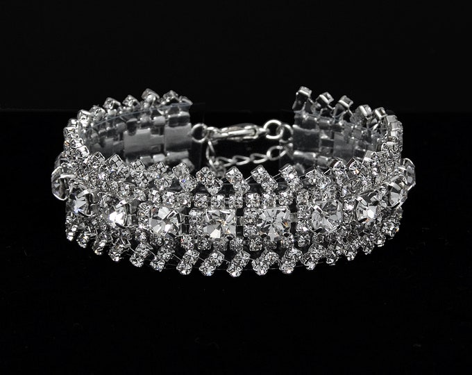 Tiana Clear Crystal Competition Bracelet for IFBB, NPC, and NANBF Bikini Fitness Bodybuilding Contests
