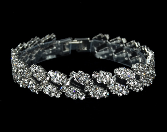 Maya Clear Crystal Competition Bracelet for IFBB and NPC Bikini Fitness Bodybuilding Contests