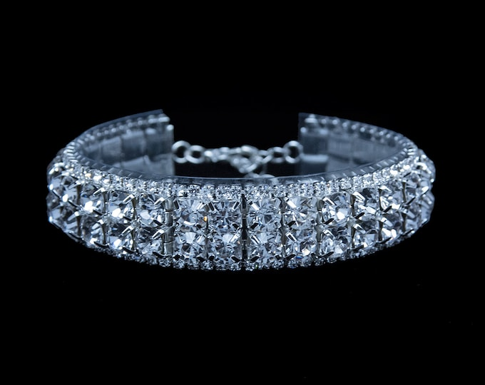 Ana Clear Crystal Rhinestone Competition Bracelet for IFBB, NPC, and NANBF Bikini Fitness Bodybuilding Contests