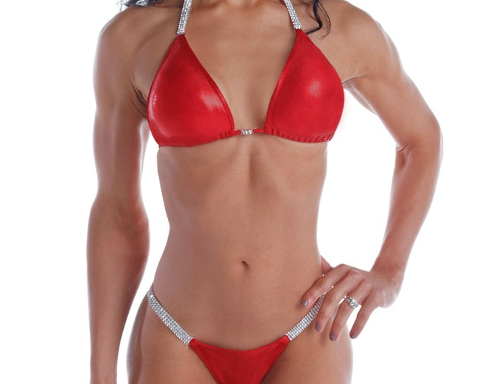Drop Dead Red Competition Bikini  NPC, IFBB, WBFF Bodybuilding Posing Suit